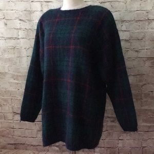 KAREN SCOTT Tartan Fuzzy mohair Long Sweater